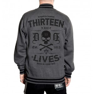 Dragstrip Clothing Mens Retro Baseball Jacket Thirteen Lives Grey Black