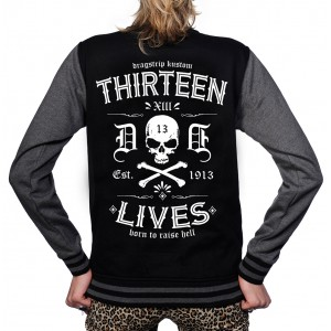 Dragstrip Clothing Womens Retro Baseball Jacket  Thirteen Lives Print