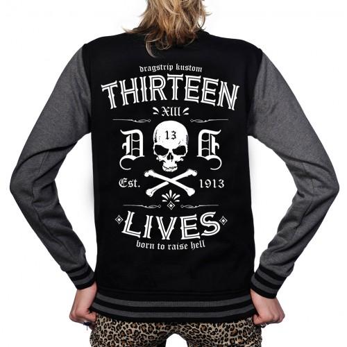 b68b3db2d314 Dragstrip Clothing Womens Retro Baseball Jacket 13 Lives Print - Black Rose