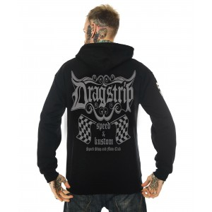 Dragstrip Clothing Mens Speed Shop Racing Flags Hooded Top