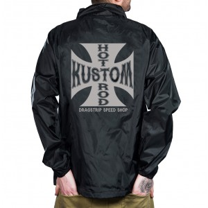 Dragstrip Clothing Mens Waterproof Coach Jacket Hot Rod Iron Cross Print