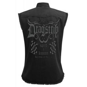 f6ea9b33e0f Dragstrip Clothing Speed Shop Black Sl Less Distressed Work Shirt