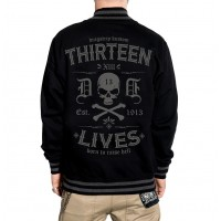 Dragstrip Clothing Mens Retro Baseball Jacket Thirteen Lives Black Grey