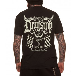 Dragstrip Clothing Speed Shop Racing Flags T`shirt