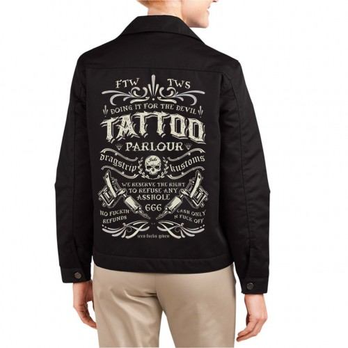 Dragstrip Clothing Womens Tattoo parlour driver jacket - Black Rose