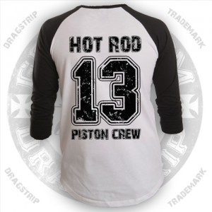Dragstrip Clothing Mens Baseball Shirt Piston Crew Print