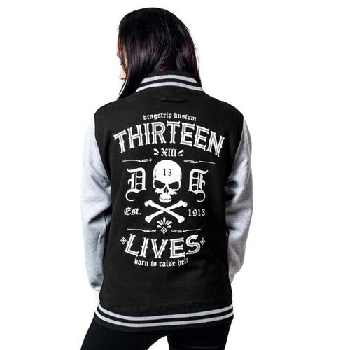 c52a01e90e34 ... Dragstrip Clothing Womens Retro Baseball Jacket Thirteen Lives Print ...