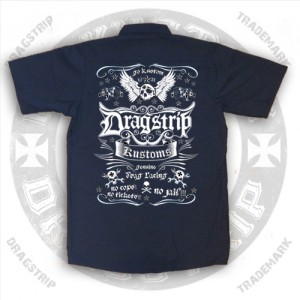 Dragstrip Clothing Mens Skull Kustom Work Shirt