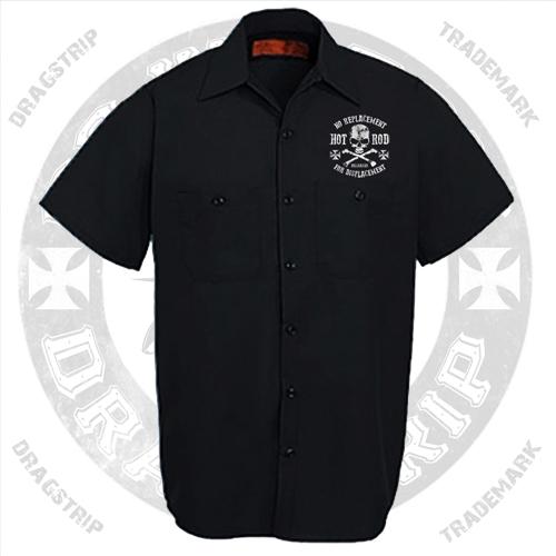 00f4399a59a Dragstrip Work Shirt Biker Rocker Print - Black Rose