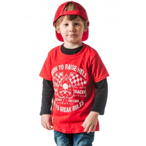 Dragstrip Kids Crew  T`Shirt - Born To Raise Hell Red