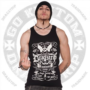 Dragstrip Mens wife beater Skull Kustom Print