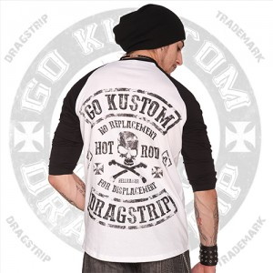 Dragstrip Clothing Baseball top with No Replacement for Displacement Print
