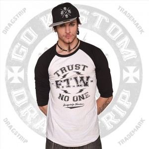 Dragstrip Kustom Baseball Top Trust NO One
