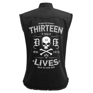 Dragstrip Clothing Street Racing Thirteen Lives Black Sl/Less Distressed Work Shirt