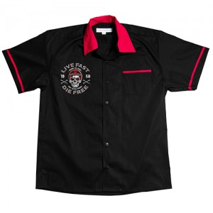 Dragstrip Clothing Mens Bowling Shirt Live Fast Die Free