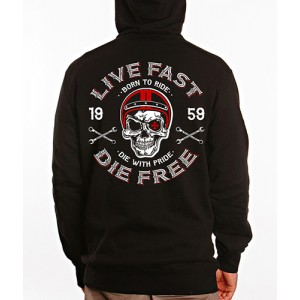 Dragstrip Clothing Mens Live fast Die Free Hooded Top