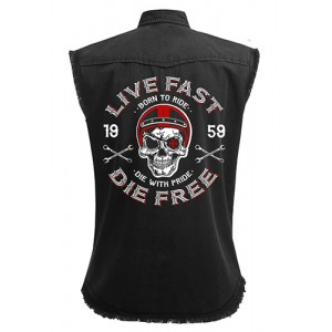 Dragstrip Clothing Live Fast Die Free Black Sl/Less Distressed Work Shirt