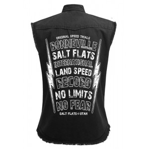 Dragstrip Clothing No Fear  Black Sl/Less Distressed Work Shirt