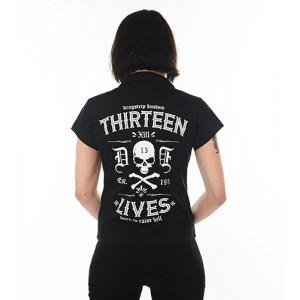 Dragstrip Kustom. Women`s Diner Shirt Thirteen Lives Black
