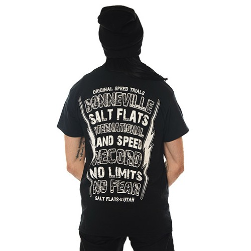Dragstrip Clothing Mens Black No Fear No Limits Salt Flats Hot Rod Biker T`Shirt