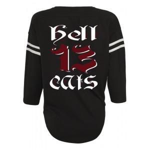 286179501808 Dragstrip Kustom Hell Cats Americana white Stripe Sleeve Baseball Top