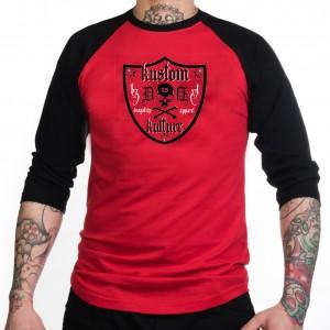 18fde8b1ede Dragstrip Clothing Americana Baseball top Red Black Kustom Kulture