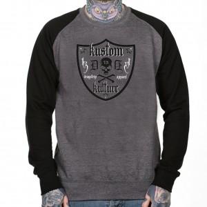 2be276348ca Dragstrip Clothing Americana jeresey L sleeve Grey Black Kustom Kulture