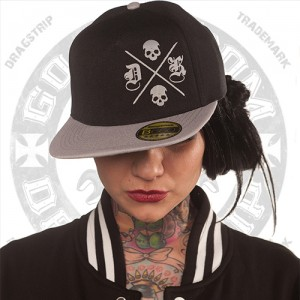 Dragstrip Kustom Clothing Grey Skull Snap Back