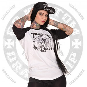 Dragstrip Kustom Unisex Cafe Racer Baeball Top 3/4 sleeve