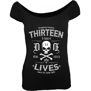 Dragstrip Kustom. Women`s Gypsy Top Thirteen Lives Black