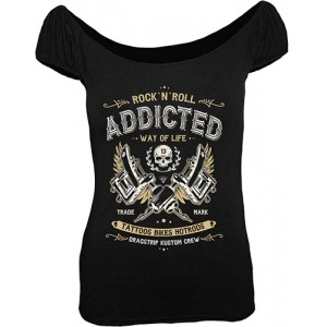 Dragstrip Kustom. Women`s Gypsy Top Addicted Black