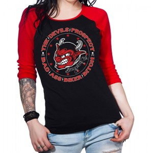 Dragstrip Kustom. Women`s Black/Red Baseball Top Devils Prospect