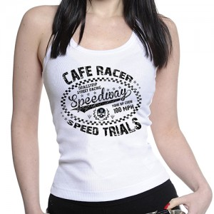 Dragstrip Kustom. Women`s Strappy Speed Trials White