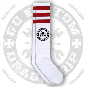 Dragstrip Kustom Go Kustom Skull Socks Red Stripes