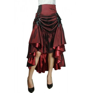 Chic Star Three-Way Lace Up Burgundy Skirt
