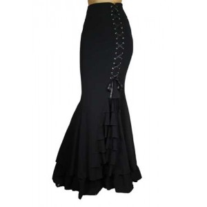 Chic Star Gothic Fishtail Skirt With Ruffles
