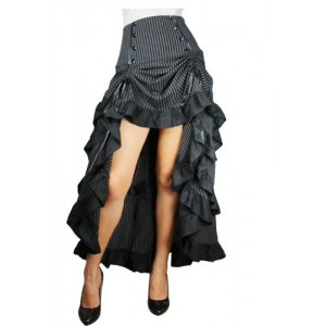 Chic Star Gothic Pinstripe Tiered Bustle Skirt