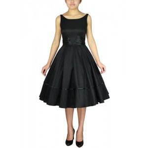 Chic Star 1950s Satin Sash Dress Black