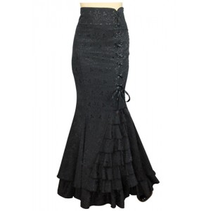 Chic Star Jacquard Gothic Ruffle Fishtail Skirt