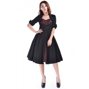 Chic Star Rockabilly Side Button Dress Black/Burgundy