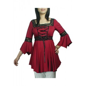 Chic Star Red Gothic Lace Up Blouse