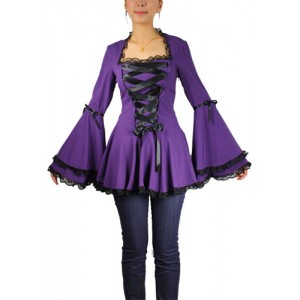 Chic Star Purple Gothic Ribbon Top