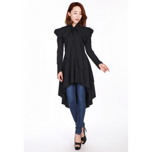 Chic Star Long Sleeve Victorian Romance Black Top