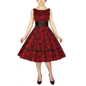 Chic Star 1950s Printed Satin Sash Dress Red