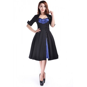 Chic Star Rockabilly Side Button Dress Black/Navy
