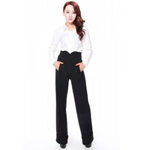 Chic Star 1940's Black High Waist Trousers