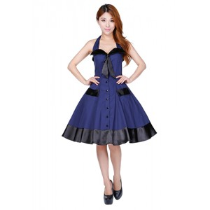 Chic Star Retro Navy and Black Swing Dress