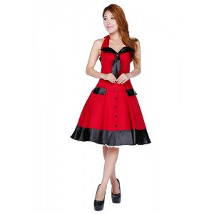 Chic Star Retro Red and Black Swing Dress
