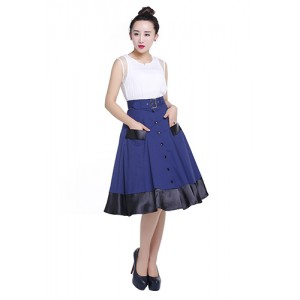 Chic Star 50's Navy Circle Skirt