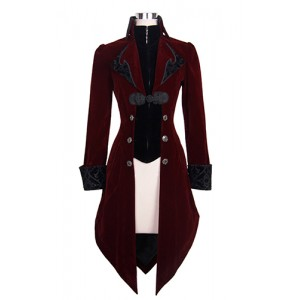 Devil Fashion Gothic RED Maelstrom Velvet Jacket